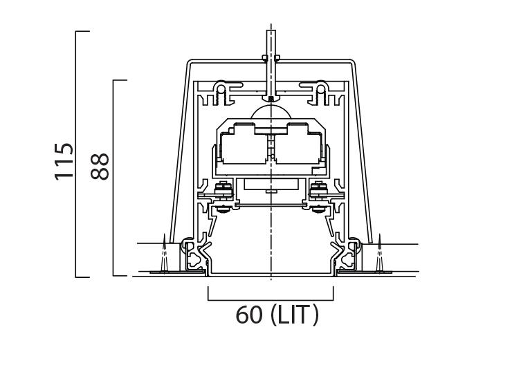 Lightline LED 60 Recessed Trim Line Drawing
